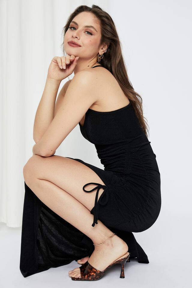 Chantel Ruched Chain Maxi Dress, BLACK