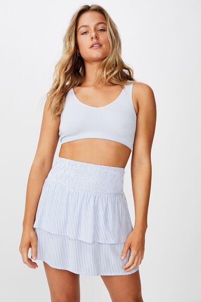 Poppy Shirred Waist Tiered Skirt, TEXTURED STRIPE BLUE