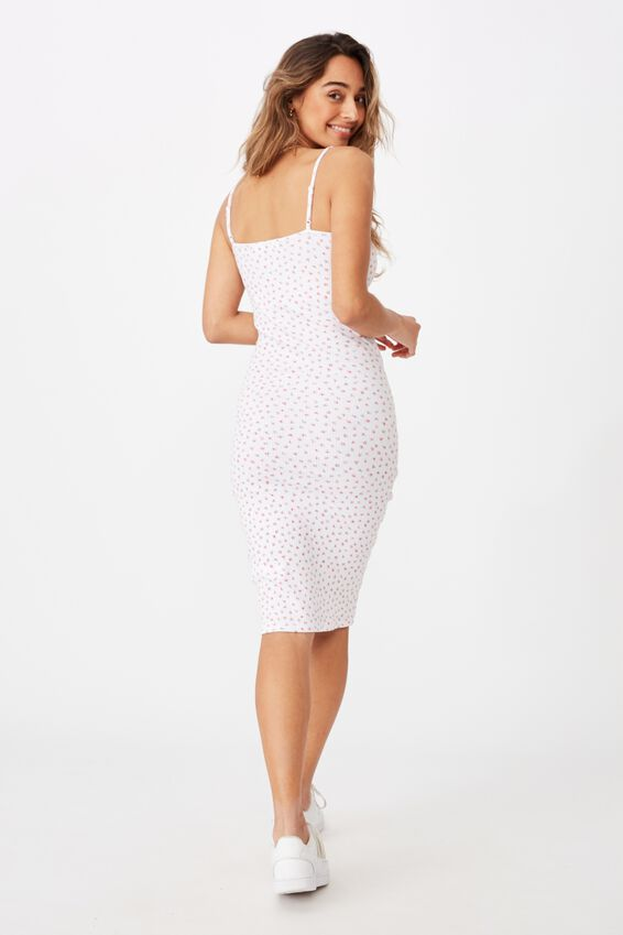Georgia V Neck Midi Dress, LORNA FLORAL WHITE