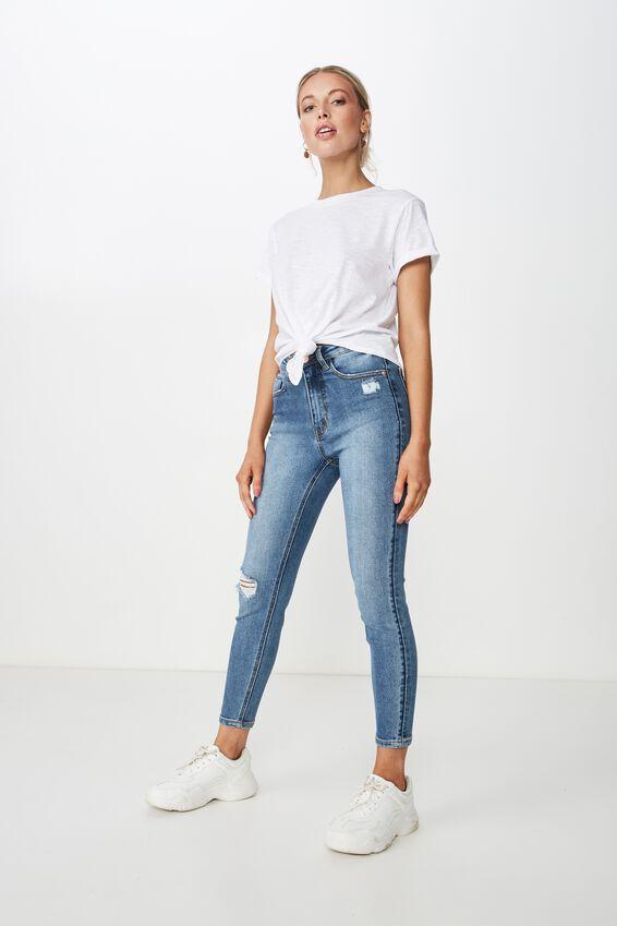 Short Skinny Premium Ankle Grazer Jean, PEPPER BLUE