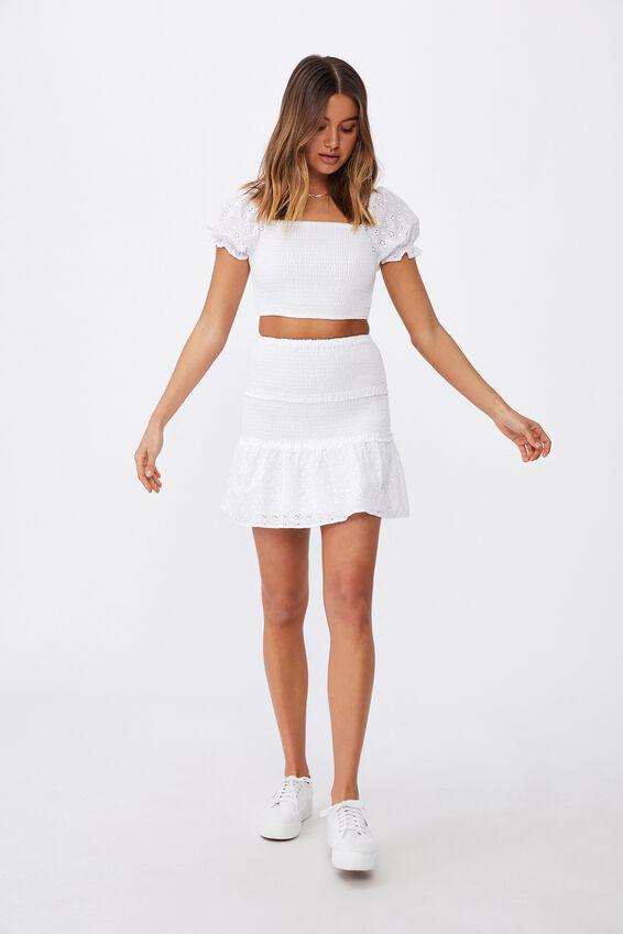 Tiffany Shirred Puff Sleeve Top, WHITE