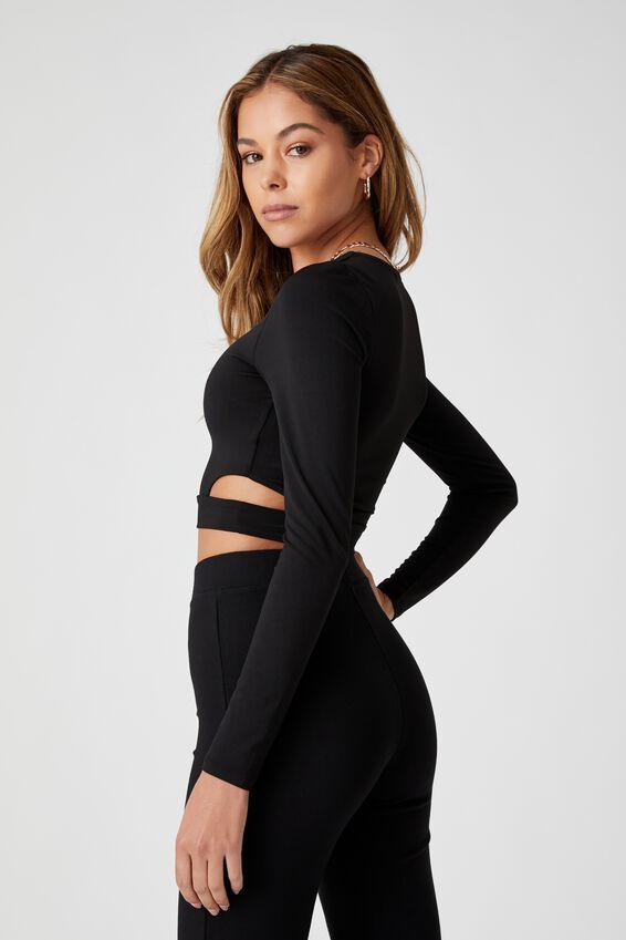 Claudia Side Cutout Top, BLACK