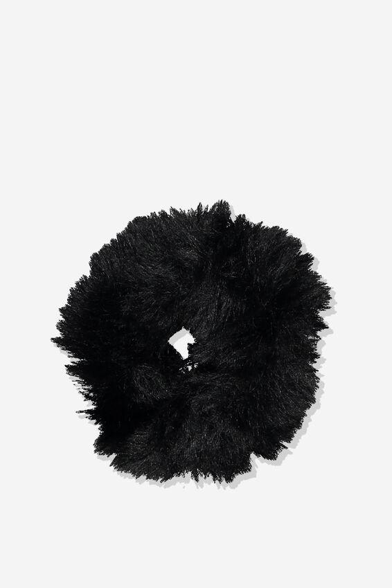 Fluffy Scrunchie, BLACK