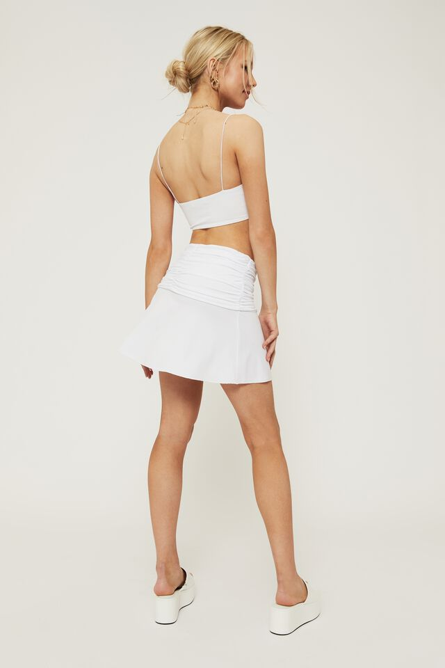Sage Gathered Waist Mini Skirt, WHITE