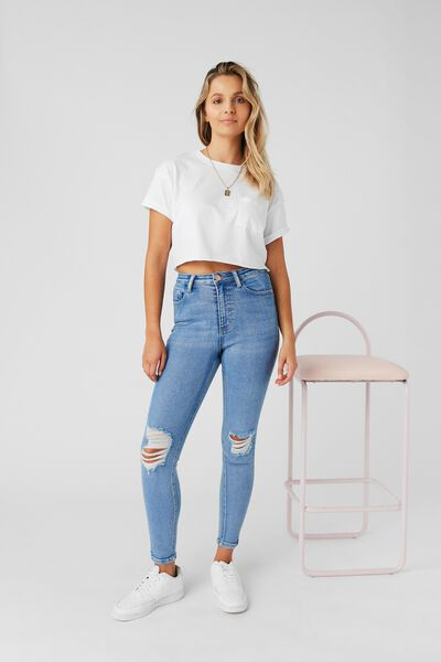 Skinny Premium Ripped Jean, SPLASH BLUE