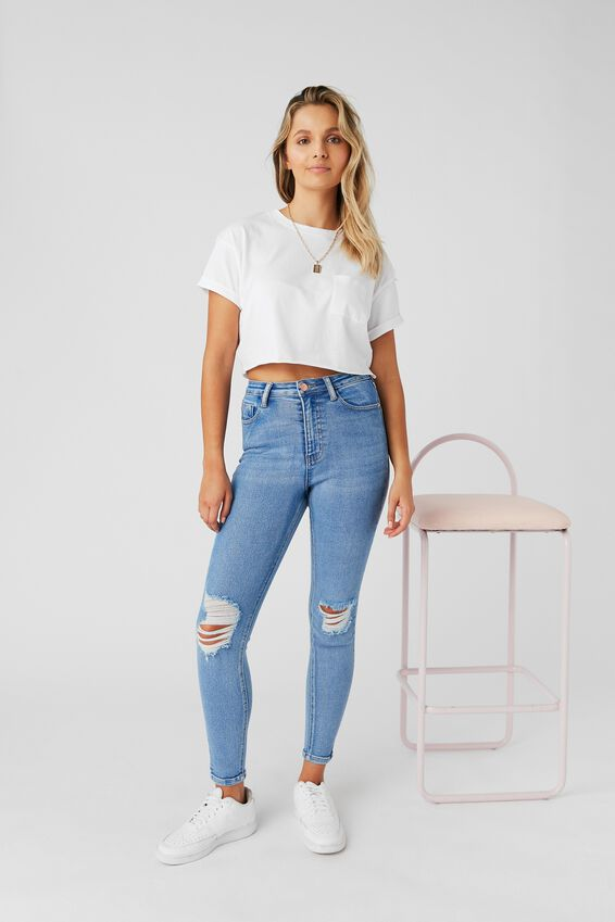 Skinny Premium High Rise Ripped Jean, SPLASH BLUE