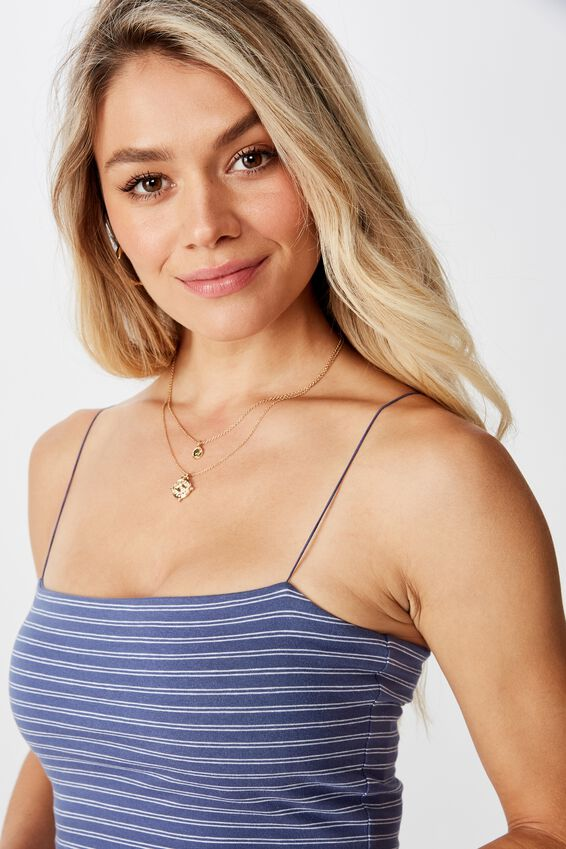 Sara Thin Strap Crop, SMALL DOUBLE STRIPE(JN.BL/WHT)