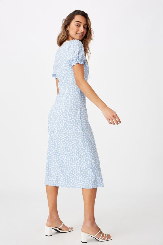 Zendaya Peasant Sleeve Midi Dress, MARGOT MONO FLORAL BLUE