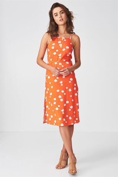 Phoenix Strappy Midi Dress, POPPY FLORAL ORANGE