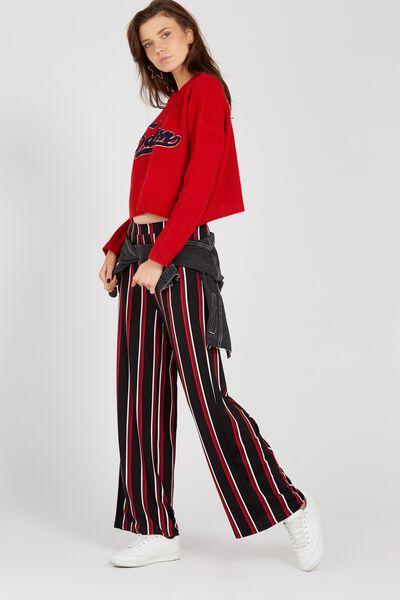 Wide Leg Jersey Pants, MULTI COL STRIPE