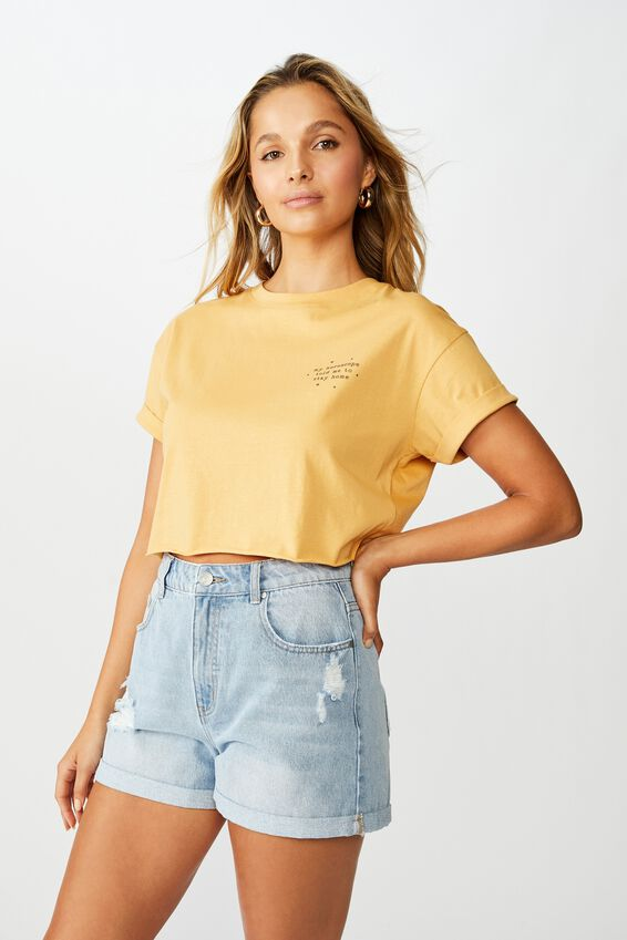 Tamara Graphic Crop Tee, SUNFLOWER/HOROSCOPE HOME