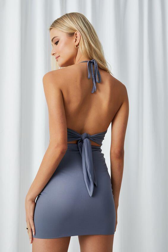 Cassie Tie Back Halter Dress, SILVER SLATE