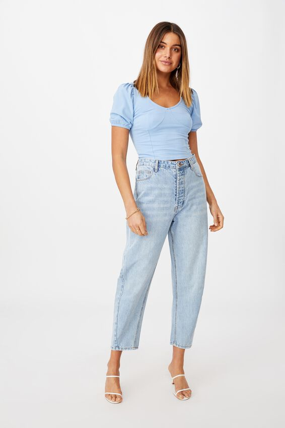 Elle Puff Sleeve Top, CAPRI BLUE