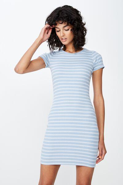 Lucia Rib Tee Mini Dress, DOUBLE STRIPE (BLUE/WHT)
