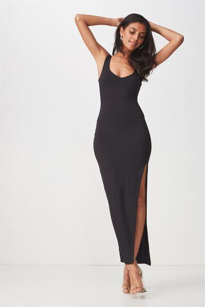 Party V Neck Maxi Dress, BLACK