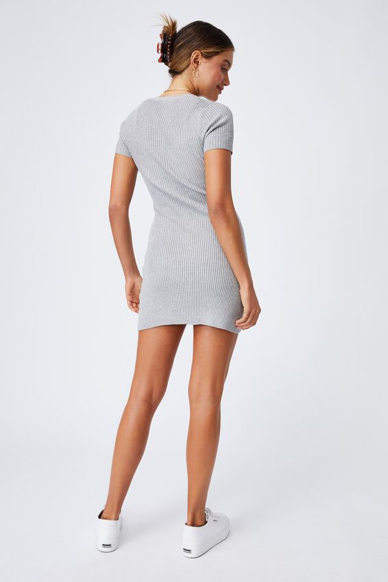 Corinne Buttoned Mini Dress, GREY MARLE