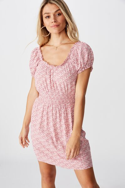 Shelby Dress, PEONIES DITSY PINK