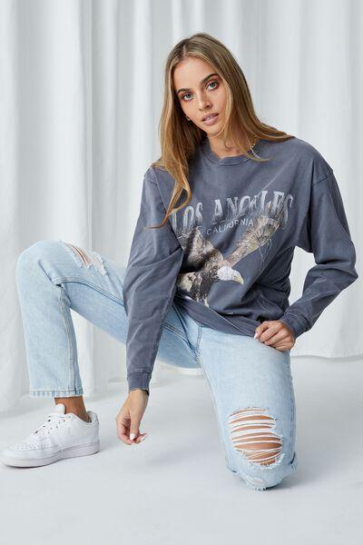 Freddie Printed Oversized T Shirt, VINTAGE WASH STEEL GREY/LA EAGLE
