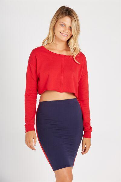 Side Stripe Midi Skirt, NAVY/RED