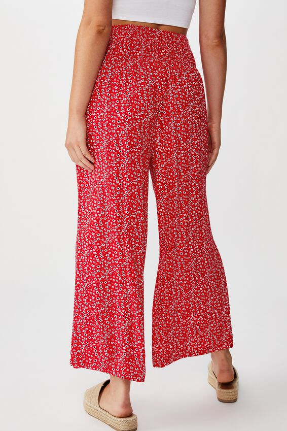 Rosie Shirred Pant, FLOWY FLORAL RED