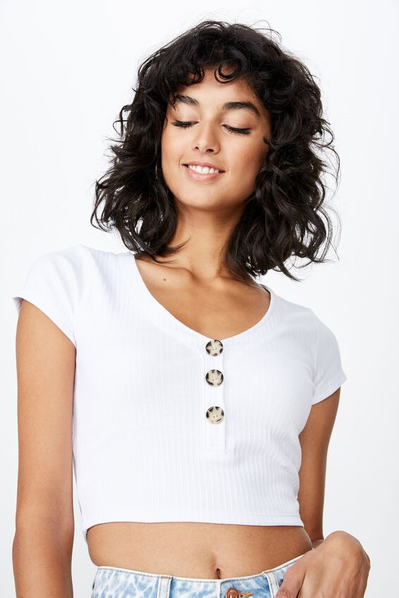 Rosa V Neck Top, WHITE
