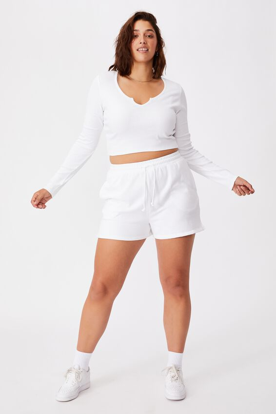 Long Sleeve Notch Front Top, WHITE