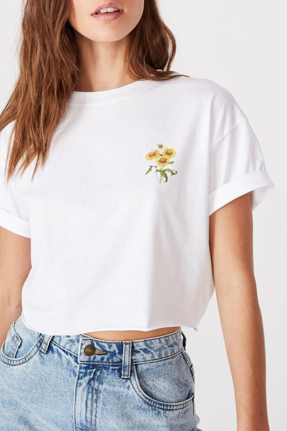Sunflower Bunch Crop Tee, WHITE/SUNFLOWER BUNCH