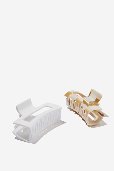 Katya 2 Pack Rectangle Hair Claw, WHITE/BEIGE BUFF SWIRL