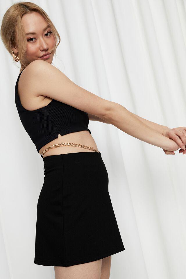 Yolanda Chain Skirt, BLACK