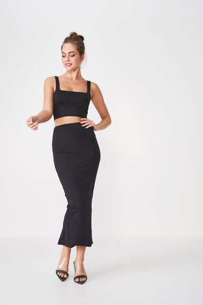 Party Maxi Bodycon Skirt, BLACK