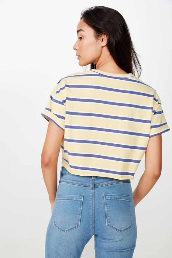 Ciara Crop Tee, COLLEGE STRIPE (CANARY YELLOW /WHT/JEAN BLUE)