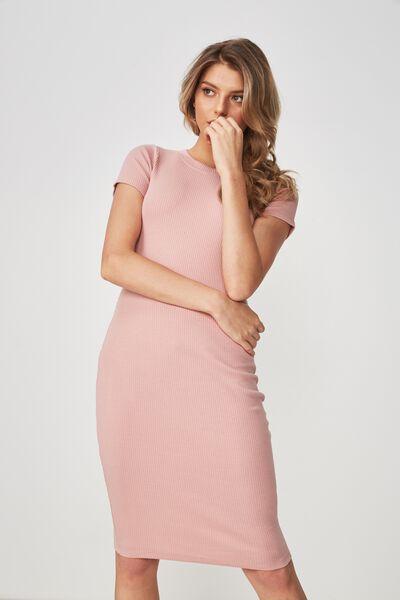 The London Rib T-Shirt Dress, BLUSH PINK