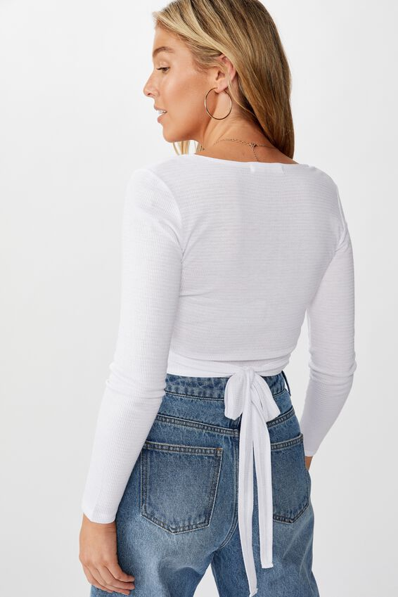 Nala Long Sleeve Wrap Top, WHITE
