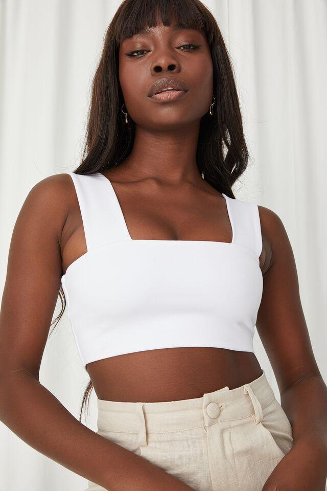 Kira Thick Strap Crop Top, WHITE
