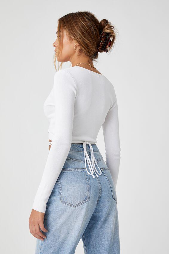 Davina Wrap Knit Top, WHITE