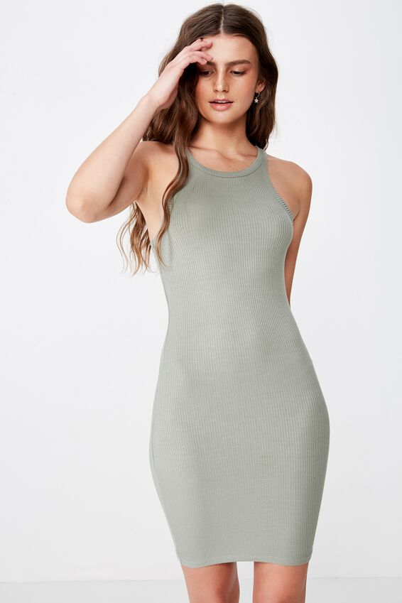 Reese Tank Rib Mini Dress, FERN KHAKI