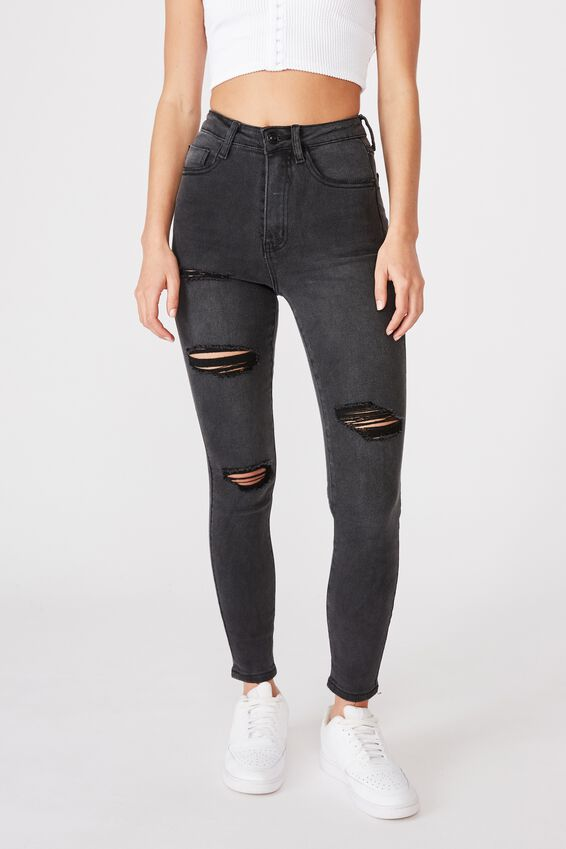 Skinny Premium High Rise Ripped Jean, BLACK SMOKE