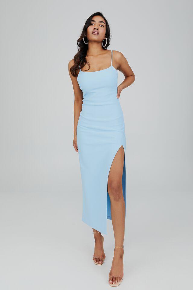 Lena Low Back Formal Dress, ISLAND BLUE