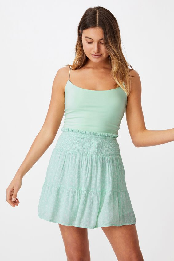 Ariana Shirred Waist Mini Skirt, JENNY FLORAL BRIGHT SEAFOAM