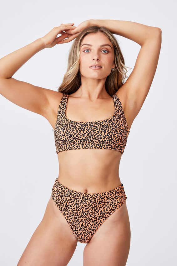 Outer Banks Scoop Neck Bikini Top, SAHARA LEOPARD/SHIRRED