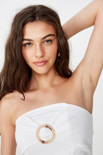 Helly Strapless Top, WHITE LINEN