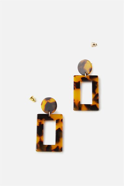 Rectangle Tort Earrings, LIGHT TORT