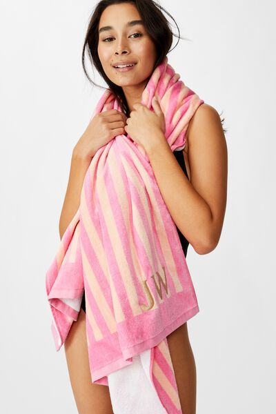 Customised Beach Towels, PINK-PEACH STRIPE