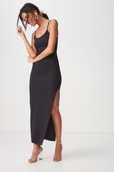 Party Strappy Maxi Dress, BLACK