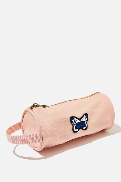 Cyclinder Canvas Pencil Case, WASHED PINK FLOSS/BUTTERFLY