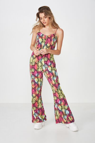 Low Back Flare Jumpsuit, PARTY PYTHON