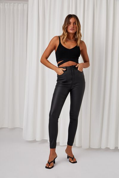 Super Skinny Coated Jean, BLACK COATED