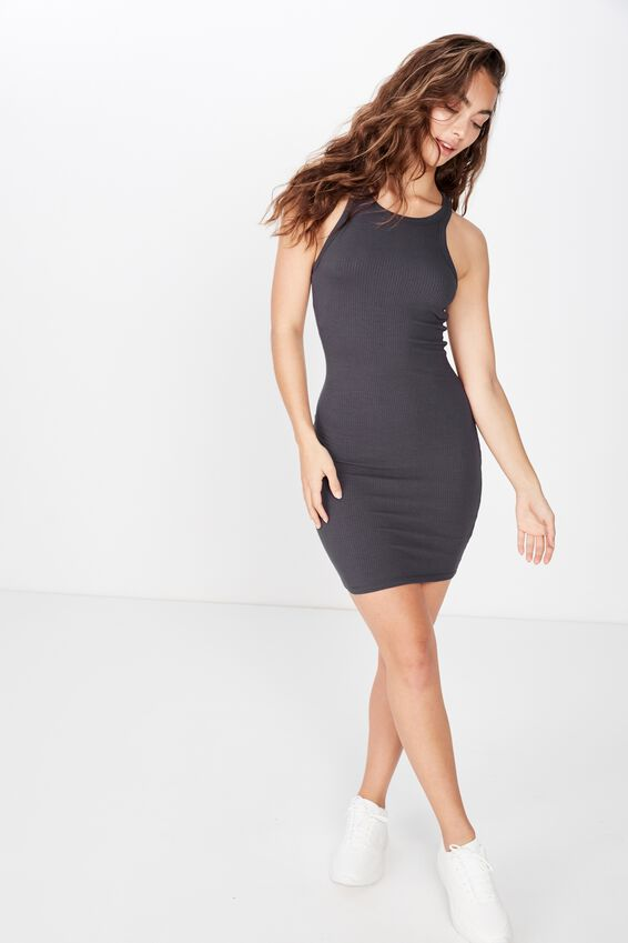 Reese Tank Rib Mini Dress, GRANITE GREY