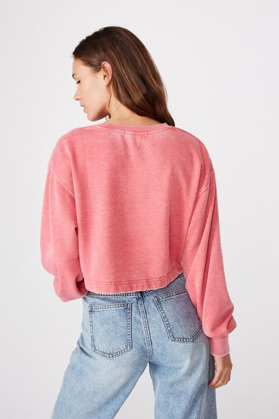 Crop Crew Neck Jumper, WASHED VINTAGE ROSE