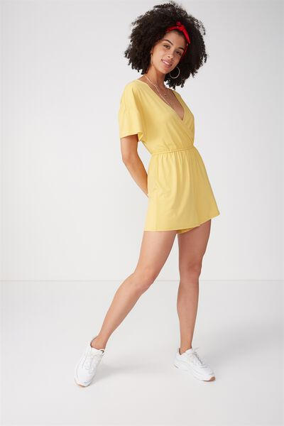 Short Sleeve Wrap Playsuit, HONEY